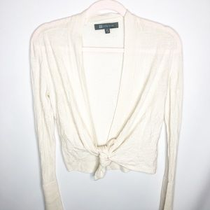 Title Nine tie front cardigan cream washable wool